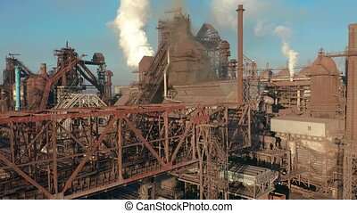 Aerial view. Blast furnace construction. Metallurgical...