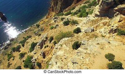 AERIAL VIEW. Breathtaking Cape Fiolent Slopes, Sevastopol,...