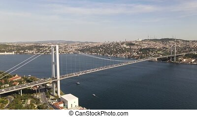 Bosphorus Bridge, 15 July Martyrs Bridge from Sky Aerial view. Istanbul Turkiye.