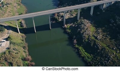 Aerial View Bridge near Town Mertola, Portugal
