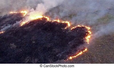 AERIAL VIEW. Burning Dry Grass In The Field Of Steppe Zone
