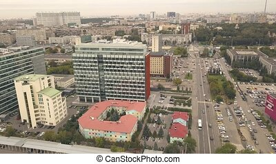Aerial view business office buildings on background city...