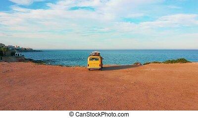 Aerial view. Caravan near the sea. Family vacation travel,...