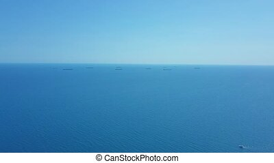 Aerial view Cargo Ship and Tanker in the sea.
