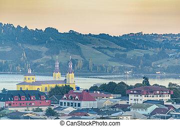 Aerial View Castro City, Chiloe Island, Chile