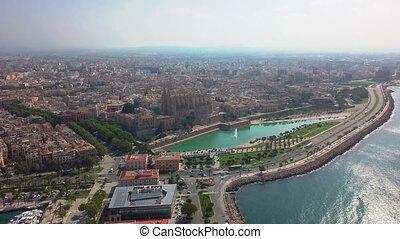 Aerial view Cathedral of Palma de Mallorca and Almudaina...