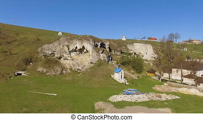 Aerial view cave in rock of sunny day