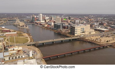 Aerial View Cedar Rapids Iowa Riverfront Downtown City...