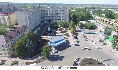 City center. Railway station, Stavropol. Russia. - Aerial...