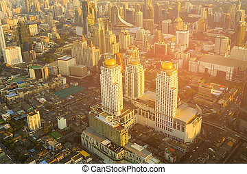 Aerial view city of Bangkok business downtown
