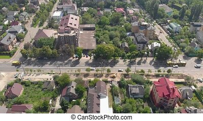 Aerial view city traffic drone street cars private houses