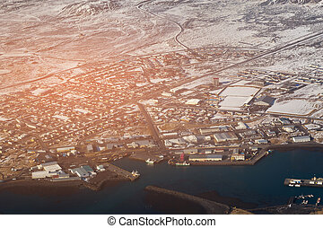 Aerial view city village Iceland in winter season