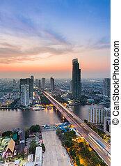 Aerial view city with main bridge