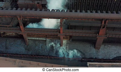 Aerial view. Coal move on conveyor in modern processing...