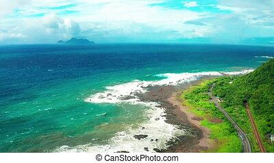 Aerial view coastline and Guishan Island ,Taiwan