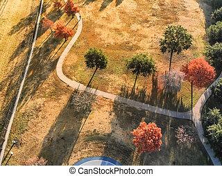 Aerial view colorful autumn leaves along park walkway near Dallas, Texas