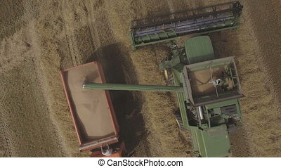Aerial view combine unloads grain in the truck.