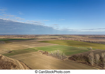 Aerial view Countryside, Agricultural Landscape.