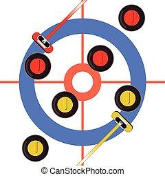 aerial view curling rocks & brooms