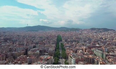 Aerial view de Espa a in Barcelona, Spain. Roundabout city ...