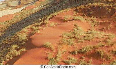 Aerial view desert Sossusvlei in the Namib Naukluft National...