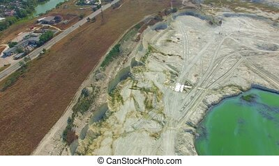 AERIAL VIEW. Driveway Near Green Lake In Open Quarry In Bakhchisarai, Crimea