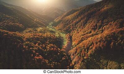 Flight over fantastic autumn mountain landscape