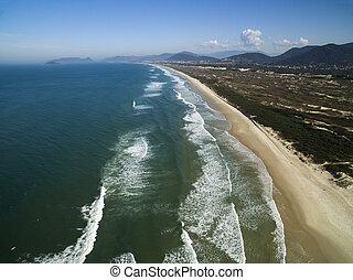 Aerial view Dunes in sunny day - Joaquina beach - Florianopolis - Santa Catarina - Brazil. July, 2017