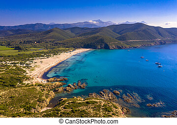 Aerial view east coast of Corsica - Aerial View over ...
