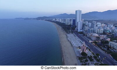 Aerial view evening city of Nha Trang, Vietnam