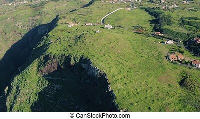 Aerial View Evergreen High Cliff Coastline, Island Madeira...