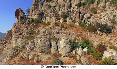 AERIAL VIEW. Famous Valley Of Ghosts At Mountain Demerji In Crimea