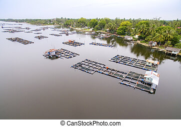 aerial view fish cage