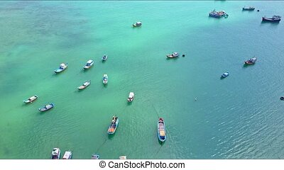 Aerial View Fishing Boats Float on Sea Surface by Coast