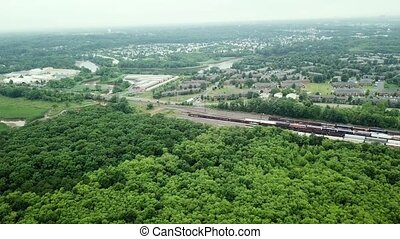 Aerial View. Flight over a green forest,
