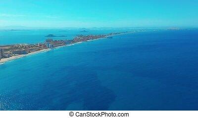 Aerial view. Flight over gorgeous islands, long spit La-...
