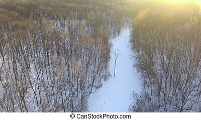 Aerial View. Flight over the beautiful winter river and forest. Nature in winter. Landscape panorama. Ukraine