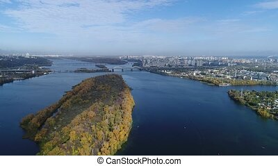 Aerial view. Flight over the city of Kiev, Ukraine. Video from copter