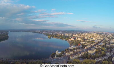 Aerial View flight over the park and beautiful blue lake in the city center. Ternopil Ukraine