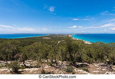 Aerial view Formentera island Ibiza horizon Spain Mediterranean sea