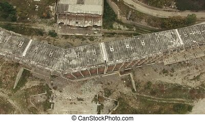 AERIAL VIEW. Frame Of Unfinished Building Outside City -...