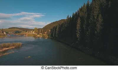 aerial view from a height on the river near the forest