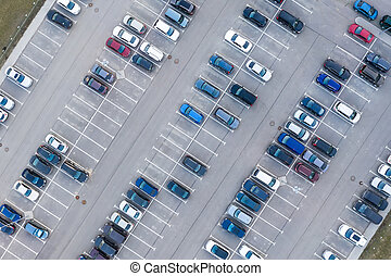 Aerial view from above - car parking in a residential area of the city.