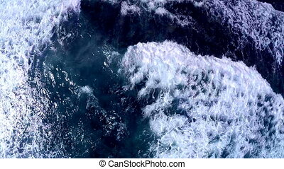 Aerial view from above on a raging ocean. Aerial view