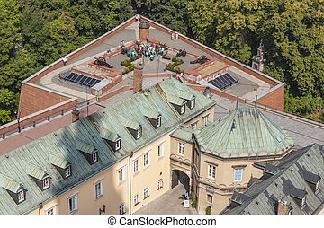 Aerial view from bell tower on walls of Jasna Gora Sanctuary - Czestochowa, Poland.