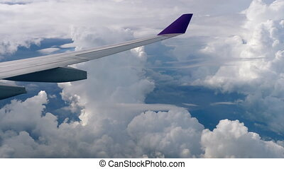 Aerial view from descending airplane - The aircraft...