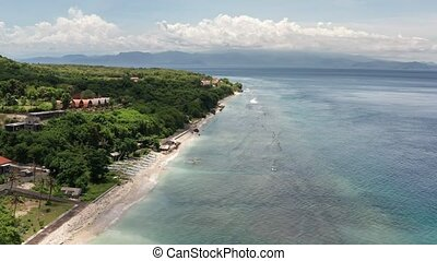 Aerial view from drone a beautiful coastal road. Nusa Penida...