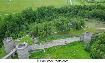 Aerial view from drone ancient destroyed fortress. Koporye....