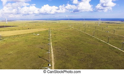 Aerial view from drone on the wind turbine.
