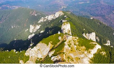 Aerial view from drone, summer rocky mountain landscape and...